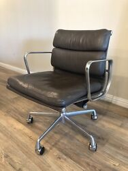 2000 Eames Herman Miller Soft Pad Aluminum Group Desk Chair Brown Leather 5