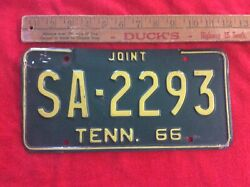 1966 Original Tennessee Joint Highway/farm License Plate Sa-2293