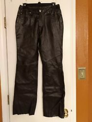 Authentic HARLEY DAVIDSON Black Leather Motorcycle Women#x27;s Pants Size 32 4 $45.00