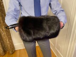 Dyed Black Real Russian Sable Fur Muff Hand Warmer Gloves Purse Pocketbook Bag