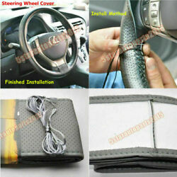 Diy Pu Leather Soft Steering Wheel Cover With Needles And Thread Anti-slip M Gray