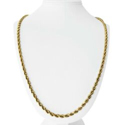 14k Yellow Gold 52g Solid Heavy Long 4.5mm Diamond Cut Rope Chain Necklace 30