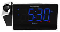 Emerson SmartSet Projection Alarm Clock Radio with USB Charging for and Tablets