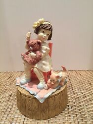 San Francisco Music Box Company Girl Mending Teddy Bear W Catandnbspour Times Together