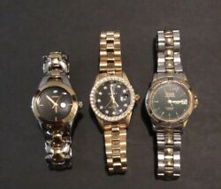 Lot Of 3 Womens Wrist Watches 2 Guess Brand And Elgin Gold And Silver