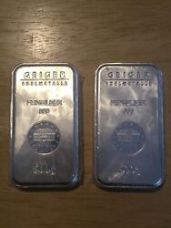 2 Geiger Edelmetalle 500g .999 Fine Silver Bars With Serial Numbers Sealed