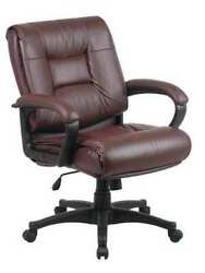 Office Star Ex5161-4 Leather Executive Chair, 19 To 22-1/2, Loop Arms, Red
