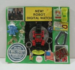 Robot Digital Watch Toys Charms Old Gumball Vending Machine Display Card 71