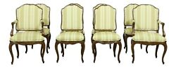 L51546ec Set Of 8 French Louis Xv Style Walnut Dining Room Chairs