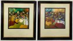 An Abstract Landscape Water Color Painting Signed And Framed, A Compatible Pair