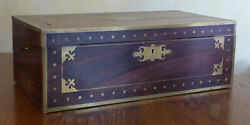 Ornate Vintage Writing Slope, Traveling Desk With Decorative Brass Inlay