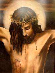 Jesus Onthe Cross Pastel Painting One Of A Kind Antique Gold Framed W/none Glass