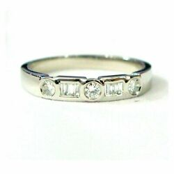 Clearance 3mm 1/3ct Round And Baguette Diamond Half Eternity Ring, White Gold