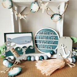 6 pc Wood tier tray wooden signs Garland home decor dorm Nautical whale Beachy