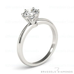 1.01 Ct Real Diamond Solitaire Engagement Ring Round Cut D/si2 14k White Gold