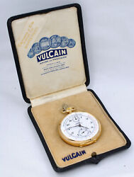 Vulcain Pocket Watch Chronograph Pulsations Scale Double Sign 18k Gold With Box