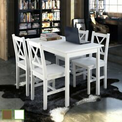 Us Kitchen Dining Set Wooden Furniture Seat Table And Chairs White/brown
