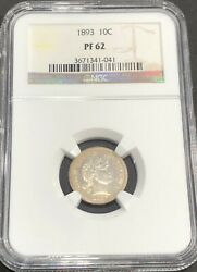 1893 Barber Silver Dime Ngc Pf 62