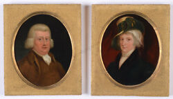 Peter Eduard Stroely Sir George Winchote And His Wife Two Oil On Copper 1806