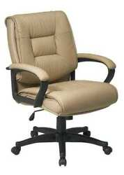 Office Star Ex5161-g11 Leather Executive Chair, 19 To 22-1/2, Loop Arms, Brown