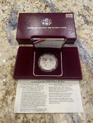 1988 D Olympic Silver Dollar Uncirculated, Signed By Patricia L Verani, Box/coa