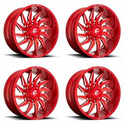 4x Fuel 22x12 D745 Saber Wheels Candy Red Milled 8x170 Pcd -44mm Offset 4.77bs