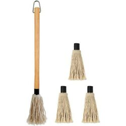 2x18 Inches Large Bbq Basting Mop With 3 Extra Replacement Heads For Grilling