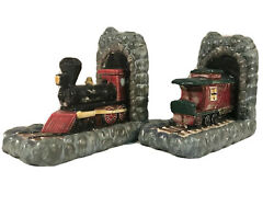 Vtg Pair Of Bookends Railroad Locomotive And Caboose 9 Tall Steam Engine Train