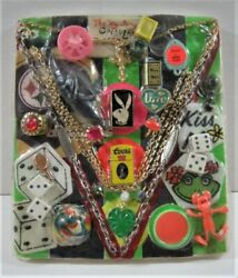 Playboy And Coors Lighters Ring Charm Toys Old Gumball Vend Machine Disp Card 263
