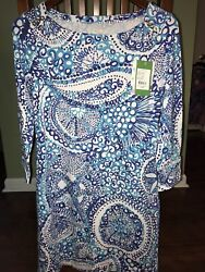 Lilly Pulitzer Midnight Blues Sophie Dress Boat Neck Straight Fit Upf50+ Small