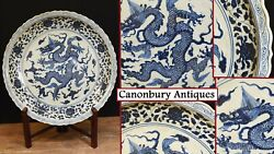 Chinese Blue And White Porcelain Plate Dragon Plaque