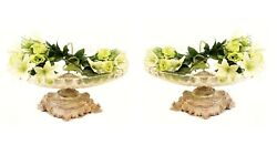 Pair French Empire Rococo Silver Plate Glass Dishes Plates Tureens Comports