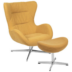 Retro Citron Fabric Swivel Wing Back Accent Chair With Ottoman And Aluminum Base