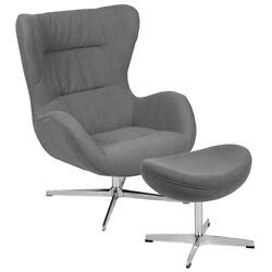 Retro Gray Fabric Swivel Wing Back Accent Chair With Ottoman And Aluminum Base