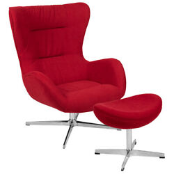 Retro Red Fabric Swivel Wing Back Accent Chair With Ottoman And Aluminum Base