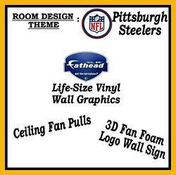 Nfl Pittsburgh Steelers Room Design Fan Pulls Fathead Decals And 3d Wall Sign