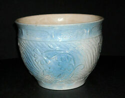 Early Blue And White Apple Blossom Stoneware Jardiniere Burley-winter Pottery Oh