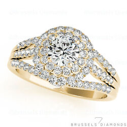 1.15 Ct Natural Round Diamond Halo Engagement Ring H/si1 Solid 14k Yellow Gold