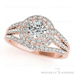 1.15 Ct Natural Diamond Engagement Ring Halo Round Cut H/si1 14k Solid Rose Gold