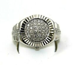 Natural Round Diamond Cluster Bezel Menand039s Rolex Style Ring 14k White Gold .72ct