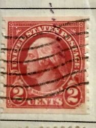 George Washington 2 Cent Stamp Used Straight Edge On Top And Bottom