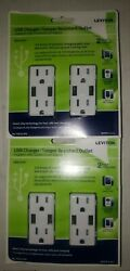 Lot Of 2 Leviton Decora T5632-2pk Usb Charger/tamper Resistant Outlet. 2 Pack