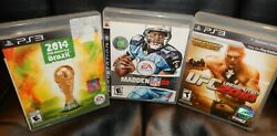Ps3 Games Lot 3 Sports Games  2014 Brazil Madden 08 And Ufc Undisputed 2010