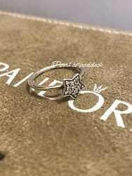 Authentic Pandora Cz Star Ring 52 Size 6 In Gift Box