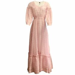 Calvin Klein 205w39nyc Pink And Ivory Sheer Plaid Casual Maxi Dress