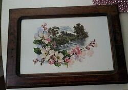 Antique Painting On Porcelain Germany Late 19th Century Flowers Swans