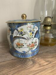 Blue And Gold Vintage Cookie Tin With Colourful Floral Design Stash Box Vintage