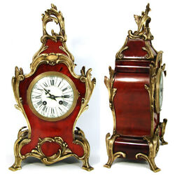 Superb Antique French Boulle Mantel Clock 15.75 Tall Ornate Bronze Accenting