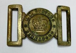 Her Majesty Singapore Customs Metal Belt Buckle Colonial Straits Settlements