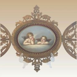 Winged Cherubs Double Door Carved Frame With Oval Hp Porcelain Charming